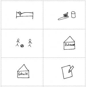 Stationenlauf Zeit: Bildkarten für den Tagesablauf (Ausschnitt der KV)
