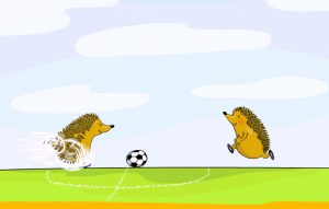 Zahlenbuch-Igel spielen Fußball