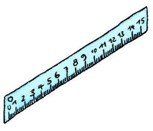 Längen messen: Lineal blau