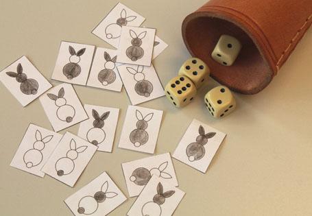 Hasenkarten und Würfel