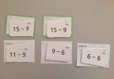 Zahlenbuch Einsminuseins-Karten Sortieren rechnen vergleichen
